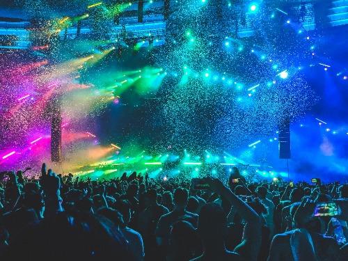 A vibrant nightclub full of people